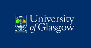 The University of Glasgow logo. 'University of Glasgow' is written in a serif font in white over a dark blue background, and the university crest is shown.