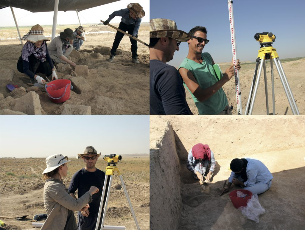 A composite image of people carrying out archaeological excavation and survey in a hot, dry environment