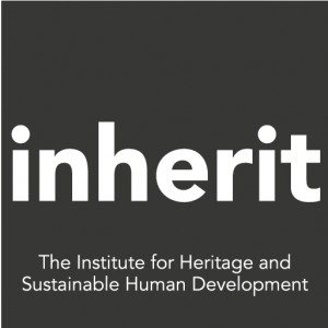 Logo for Inherit, the Institute for Heritage and Sustainable Human Development. The word 'inherit' appears in white on a dark grey background.